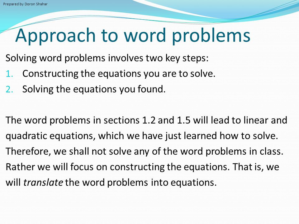 Approach to word problems