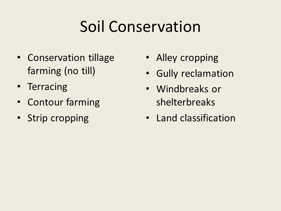 Soil Conservation Conservation tillage farming (no till) Terracing