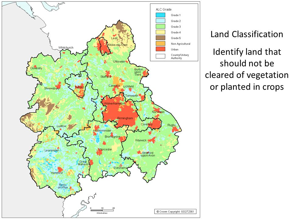 Land Classification Identify land that should not be cleared of vegetation or planted in crops
