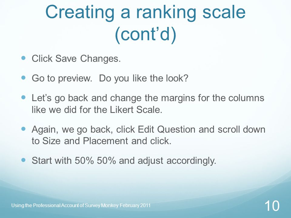 Creating a ranking scale (cont'd)