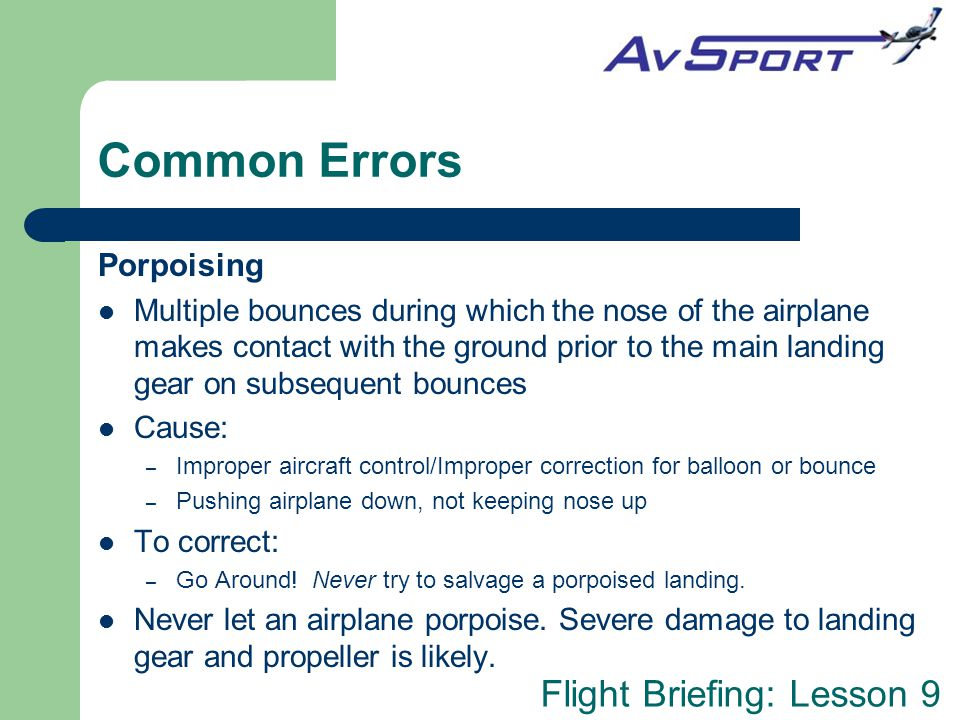Common Errors Porpoising