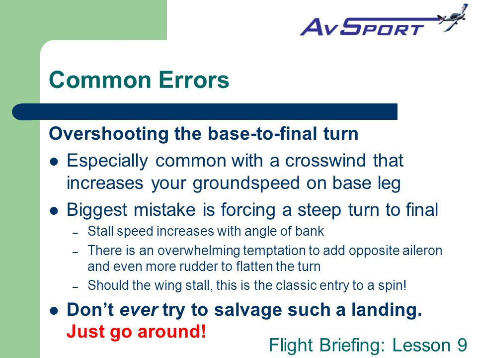 Common Errors Overshooting the base-to-final turn