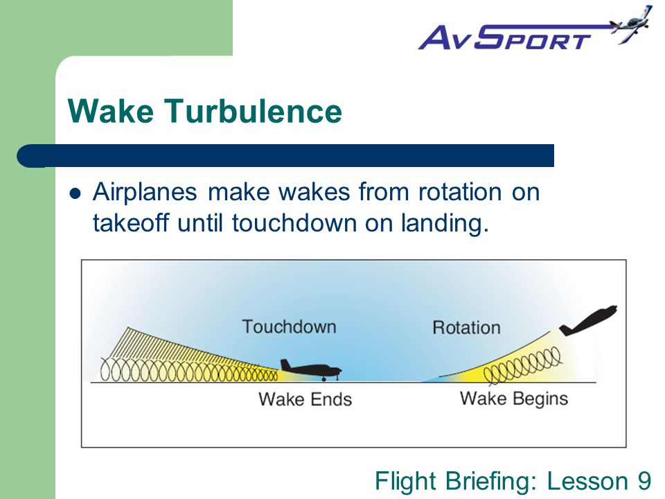 Wake Turbulence Airplanes make wakes from rotation on takeoff until touchdown on landing.
