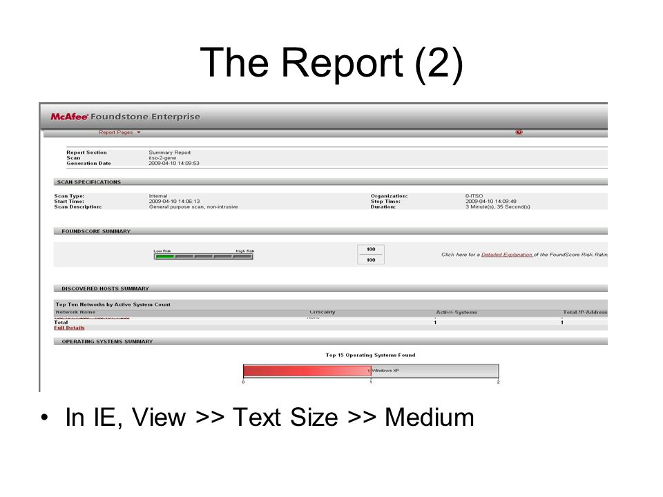 The Report (2) In IE, View >> Text Size >> Medium