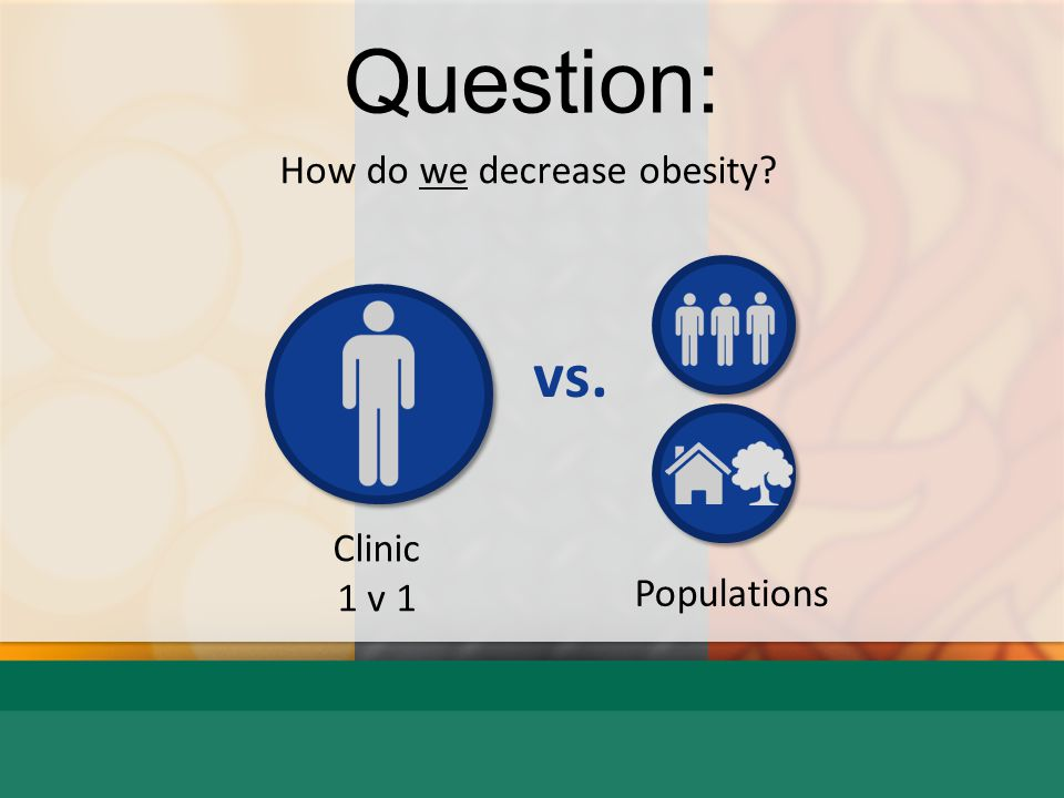 Question: How do we decrease obesity Clinic 1 v 1 Populations vs.