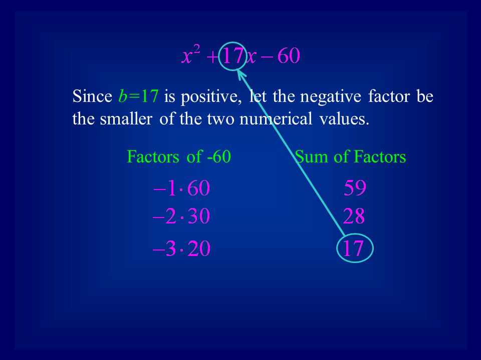Since b=17 is positive, let the negative factor be