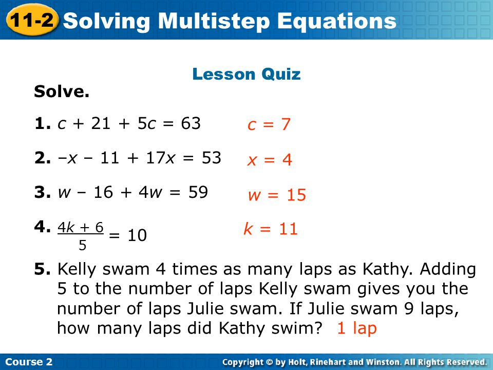 Solving Multistep Equations Insert Lesson Title Here