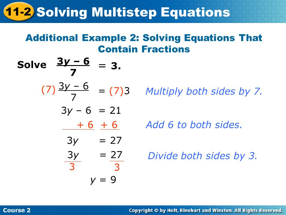 Additional Example 2: Solving Equations That Contain Fractions