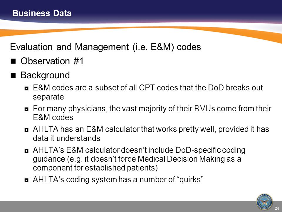 Evaluation and Management (i.e. E&M) codes Observation #1 Background