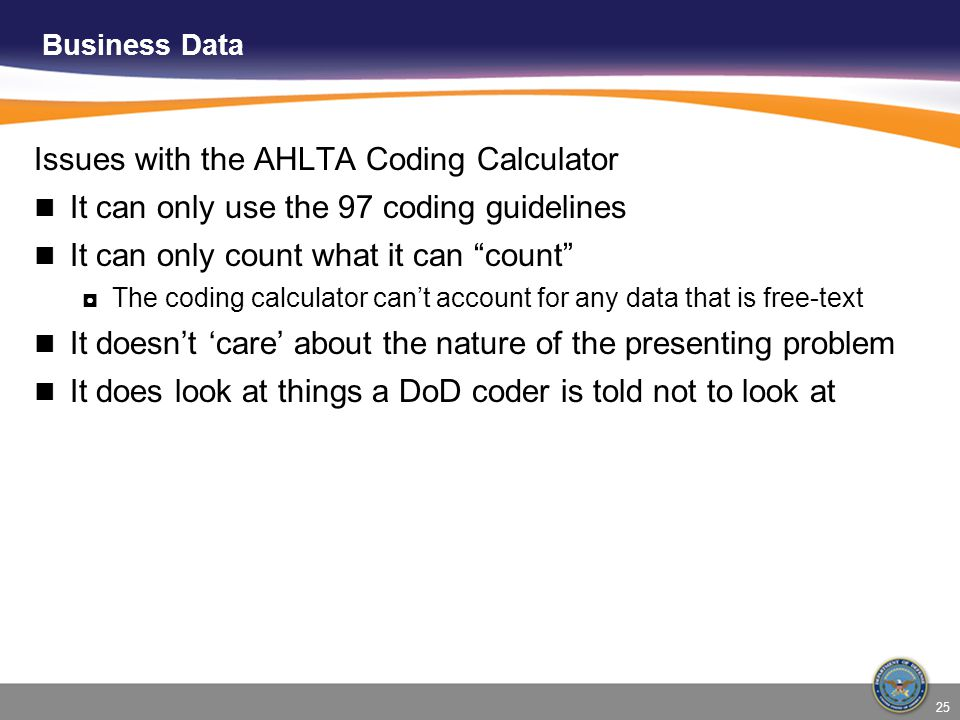 Issues with the AHLTA Coding Calculator