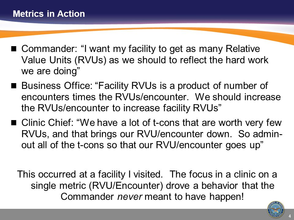 Metrics in Action Commander: I want my facility to get as many Relative Value Units (RVUs) as we should to reflect the hard work we are doing