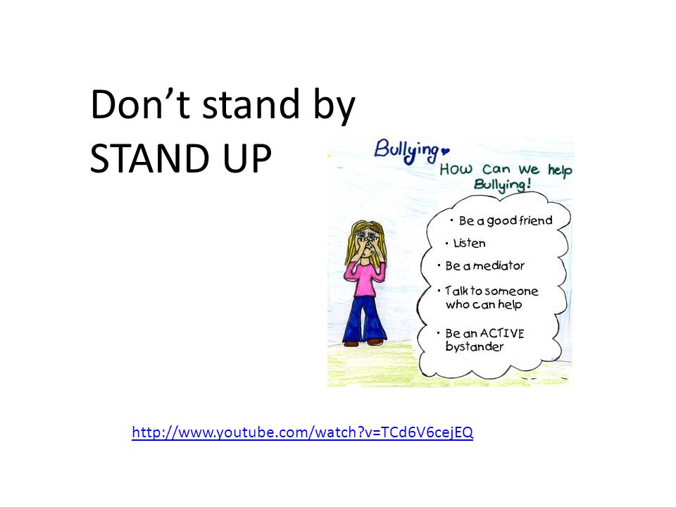 Don't stand by STAND UP http://www.youtube.com/watch v=TCd6V6cejEQ