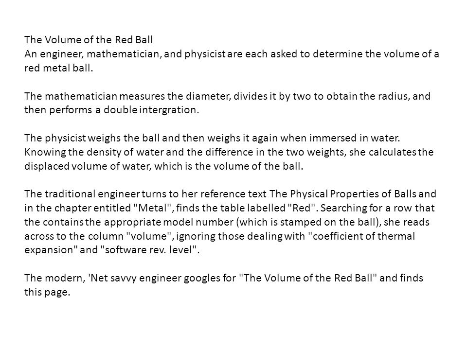 The Volume of the Red Ball