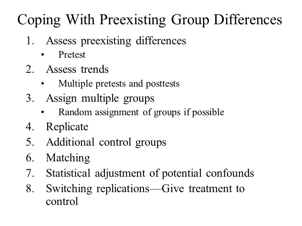 Coping With Preexisting Group Differences