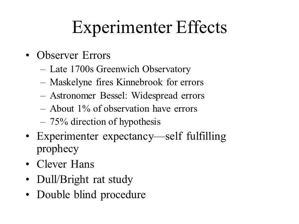 Experimenter Effects Observer Errors