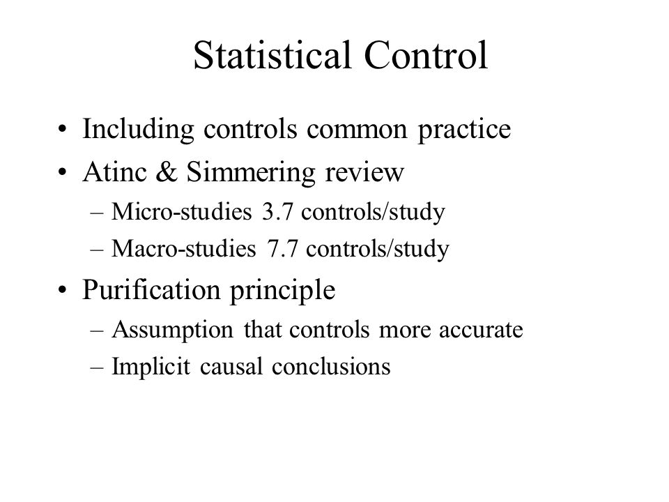 Statistical Control Including controls common practice