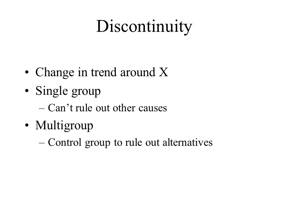 Discontinuity Change in trend around X Single group Multigroup