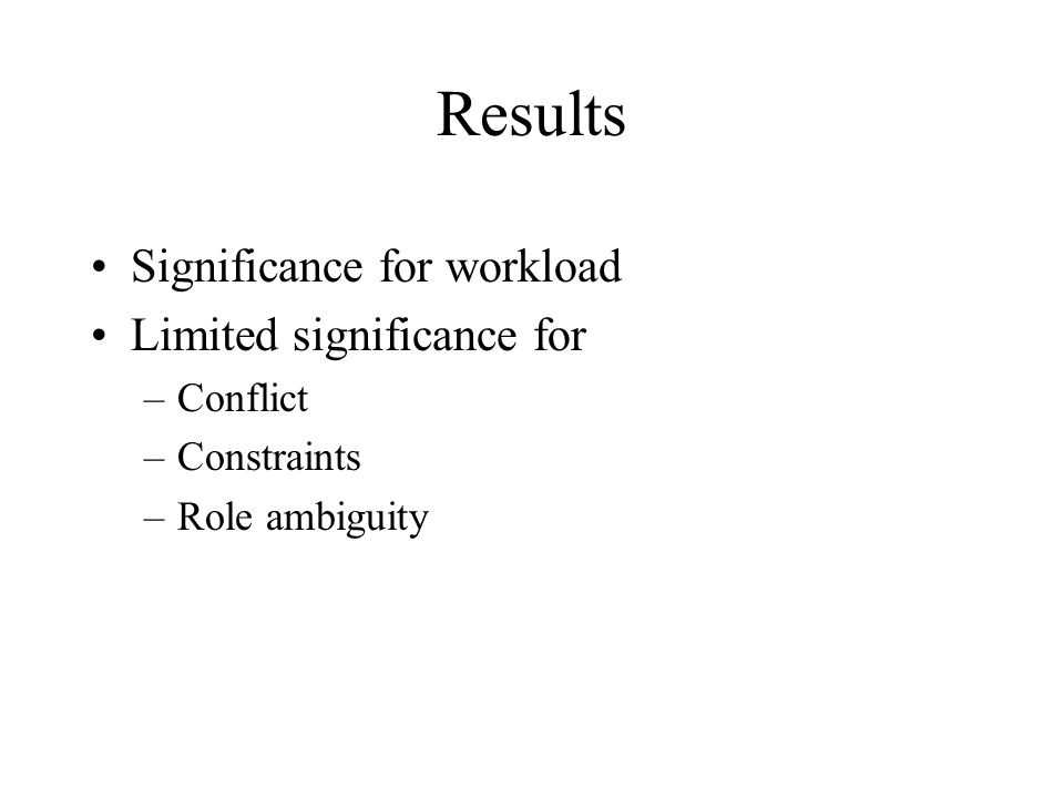 Results Significance for workload Limited significance for Conflict