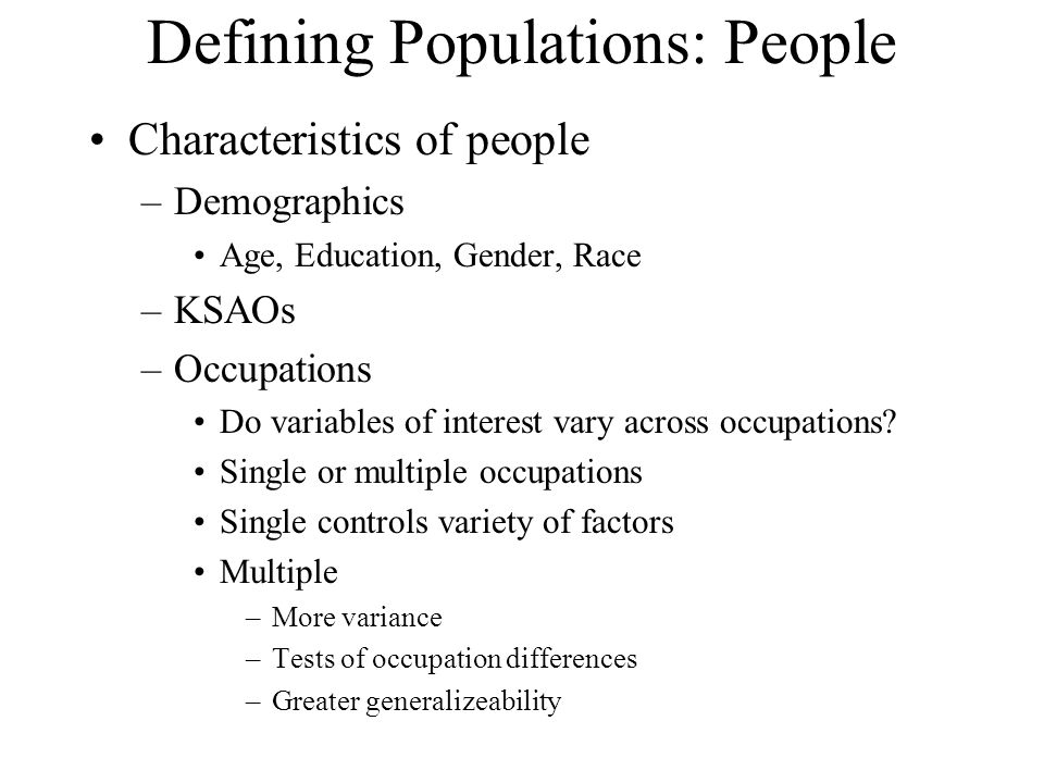 Defining Populations: People
