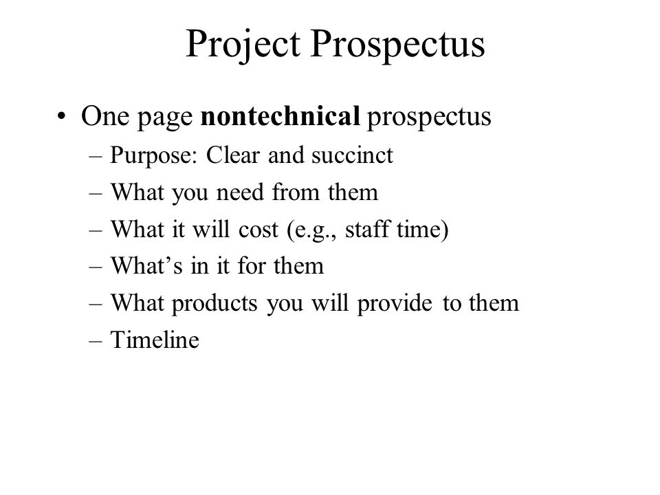 Project Prospectus One page nontechnical prospectus