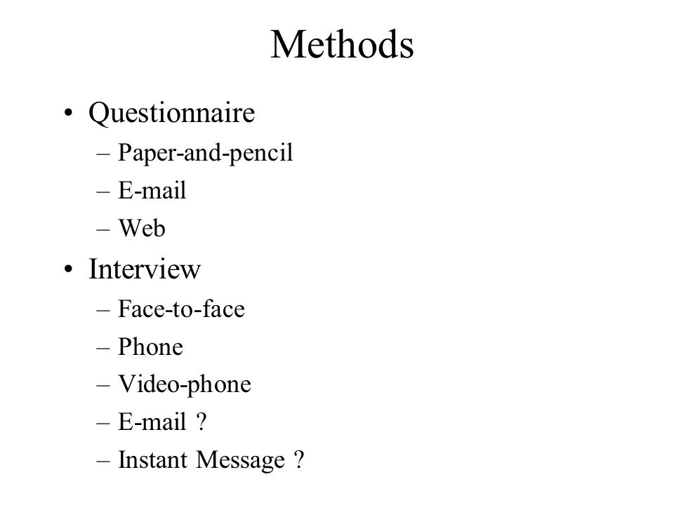 Methods Questionnaire Interview Paper-and-pencil E-mail Web