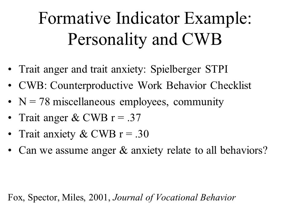 Formative Indicator Example: Personality and CWB