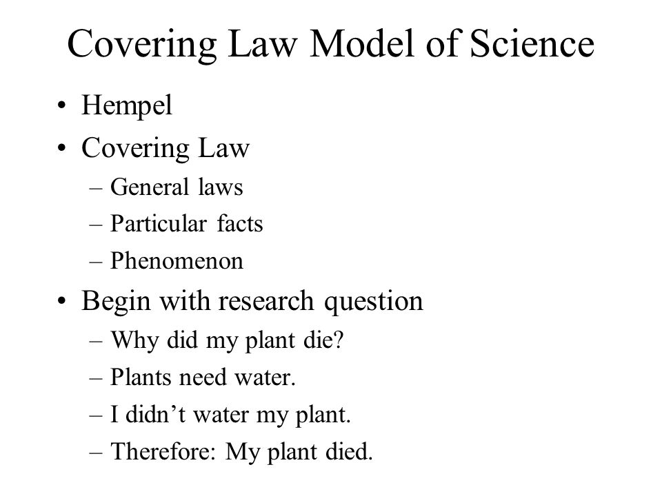 Covering Law Model of Science
