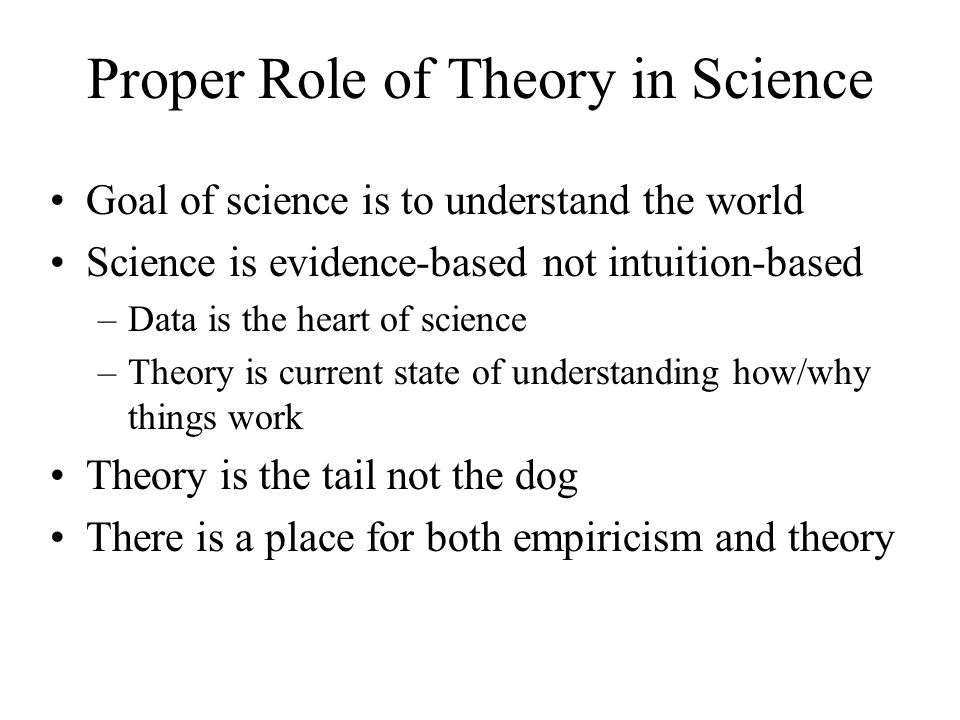 Proper Role of Theory in Science