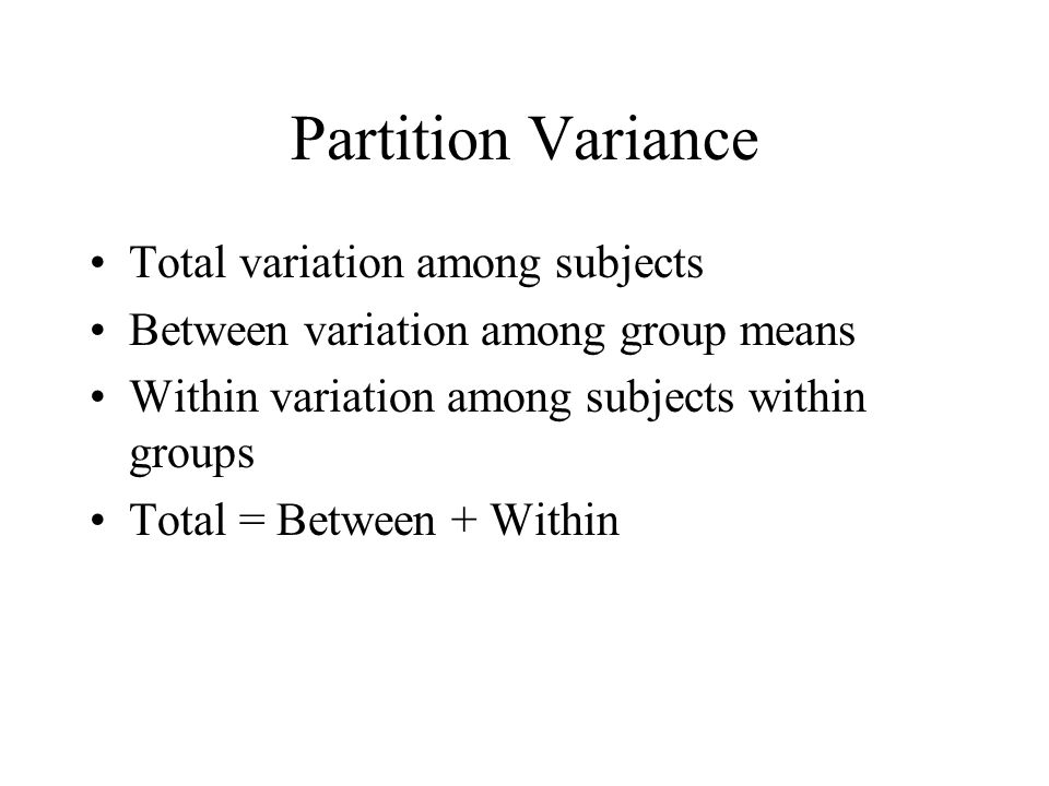Partition Variance Total variation among subjects