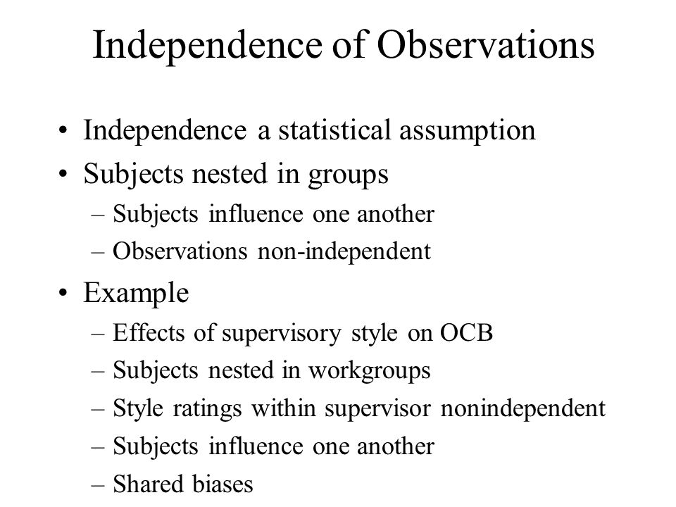 Independence of Observations