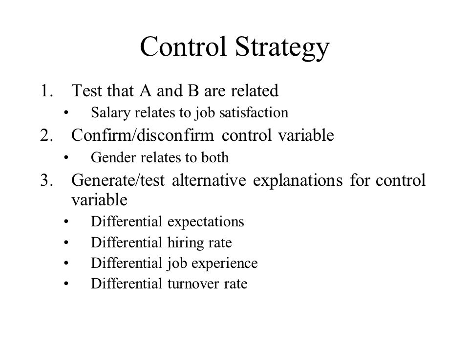 Control Strategy Test that A and B are related