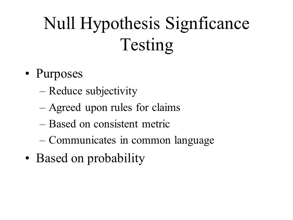 Null Hypothesis Signficance Testing