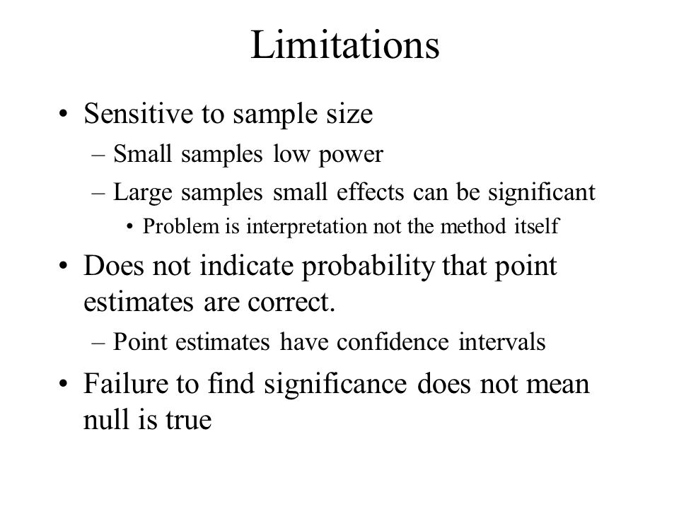 Limitations Sensitive to sample size