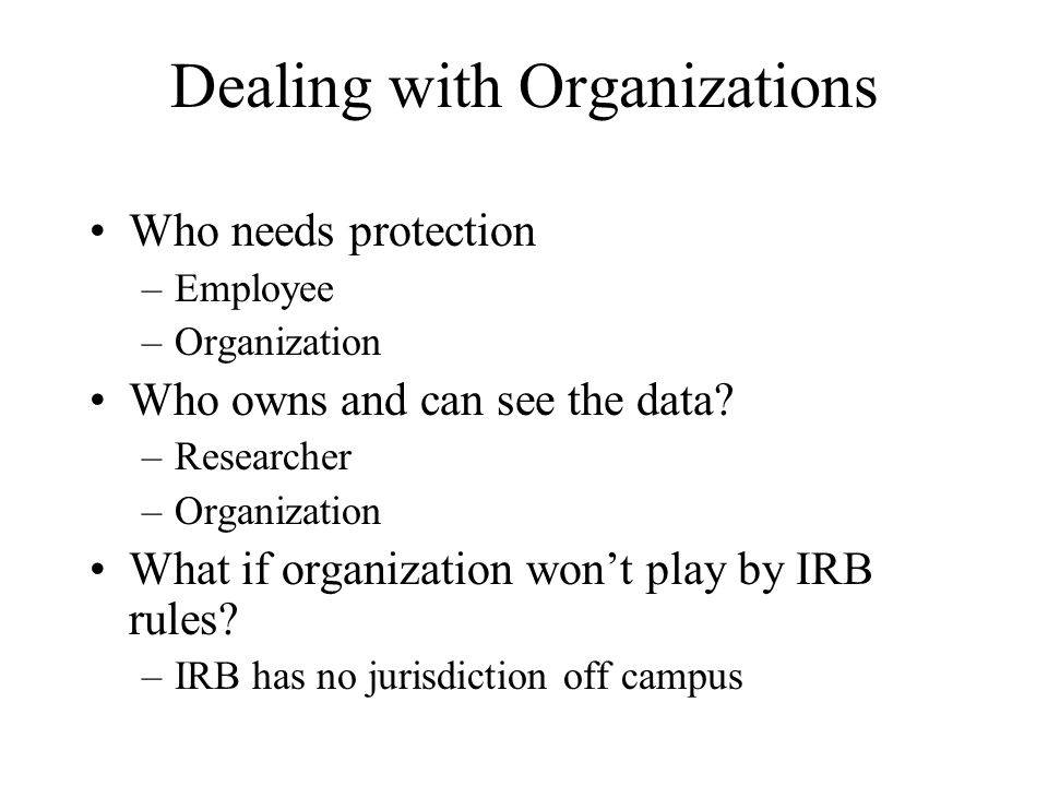 Dealing with Organizations