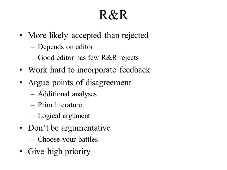 R&R More likely accepted than rejected
