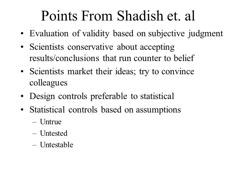 Points From Shadish et. al