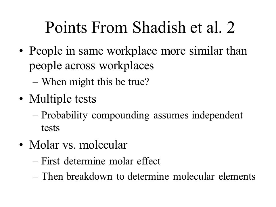 Points From Shadish et al. 2