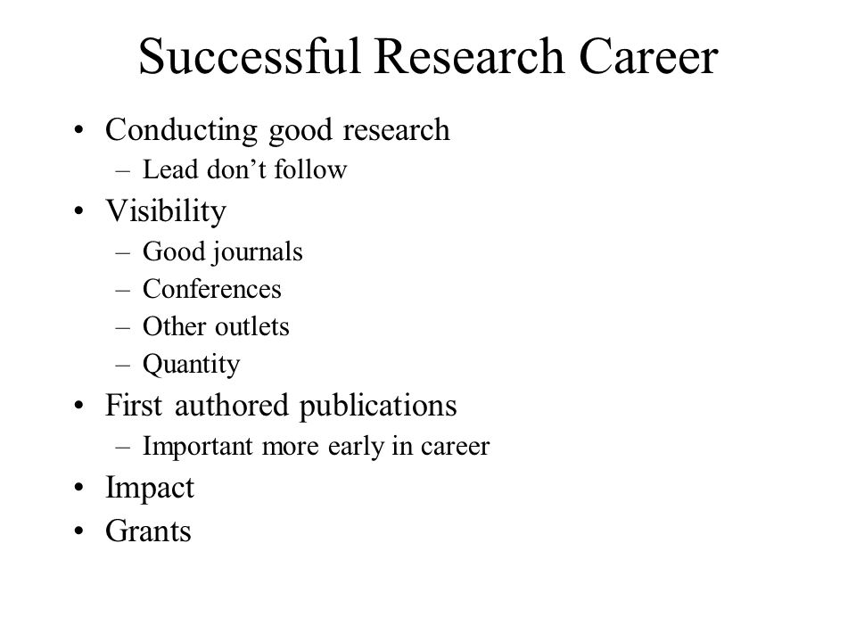 Successful Research Career