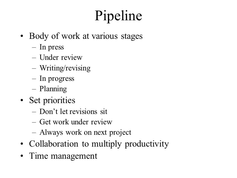 Pipeline Body of work at various stages Set priorities