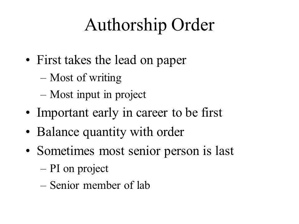Authorship Order First takes the lead on paper