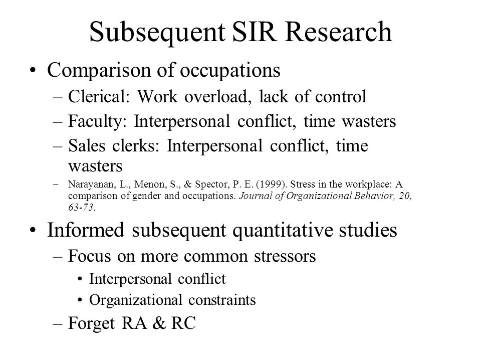 Subsequent SIR Research