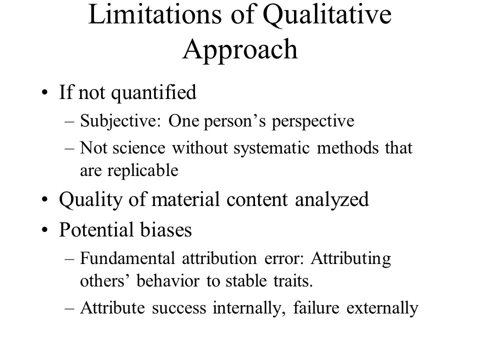 Limitations of Qualitative Approach