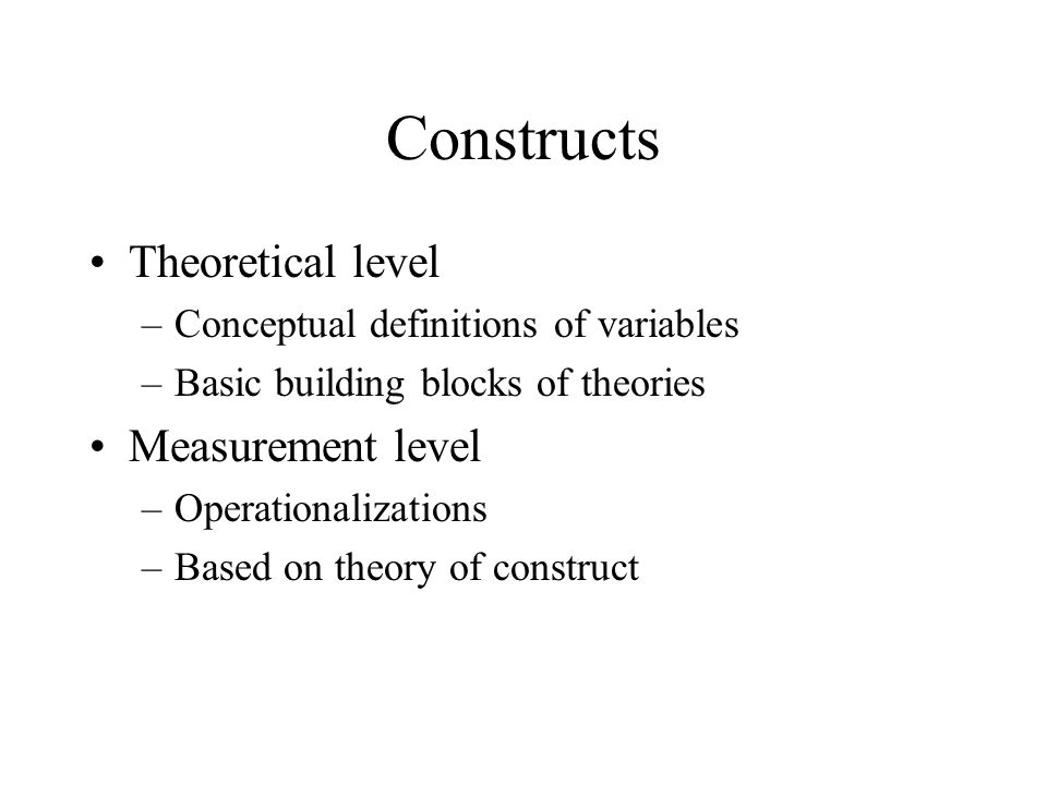 Constructs Theoretical level Measurement level