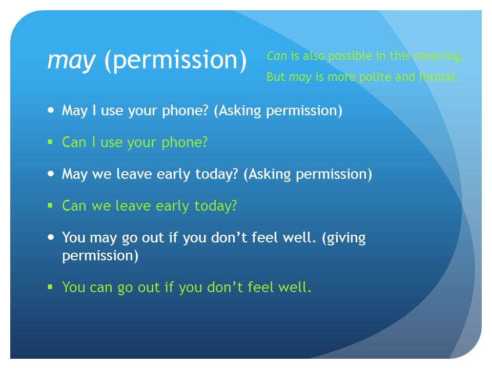 may (permission) May I use your phone (Asking permission)