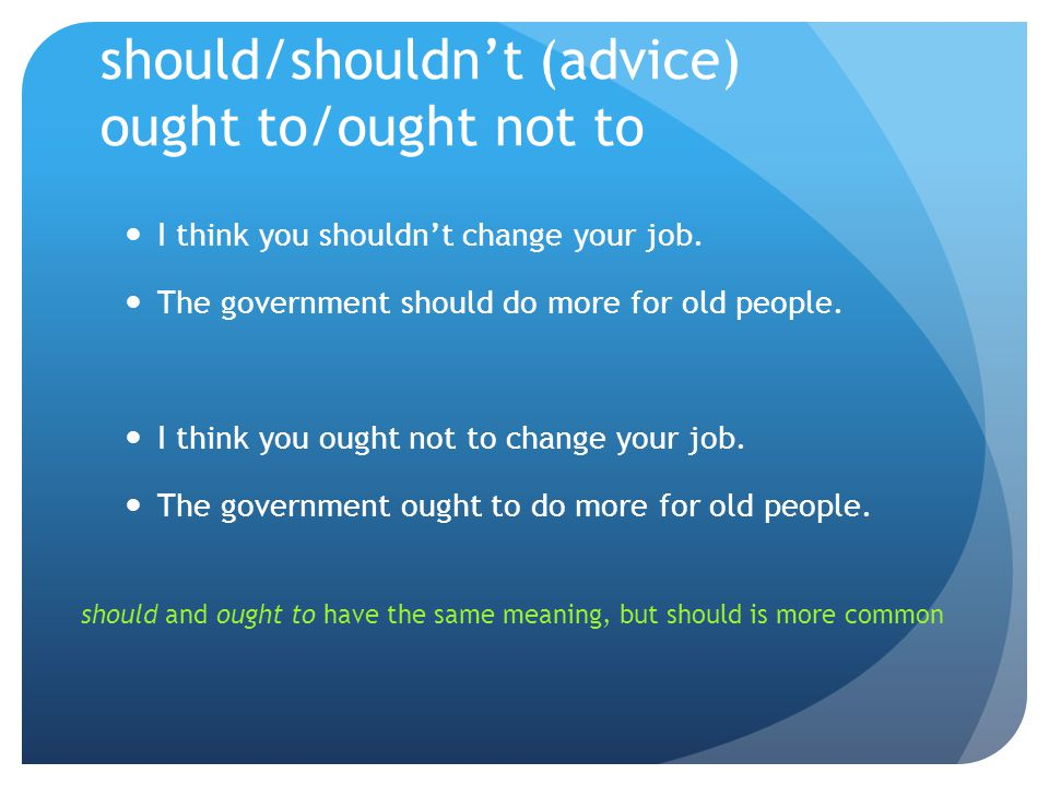 should/shouldn't (advice) ought to/ought not to