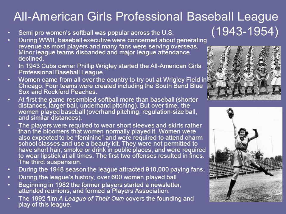 All-American Girls Professional Baseball League (1943-1954)