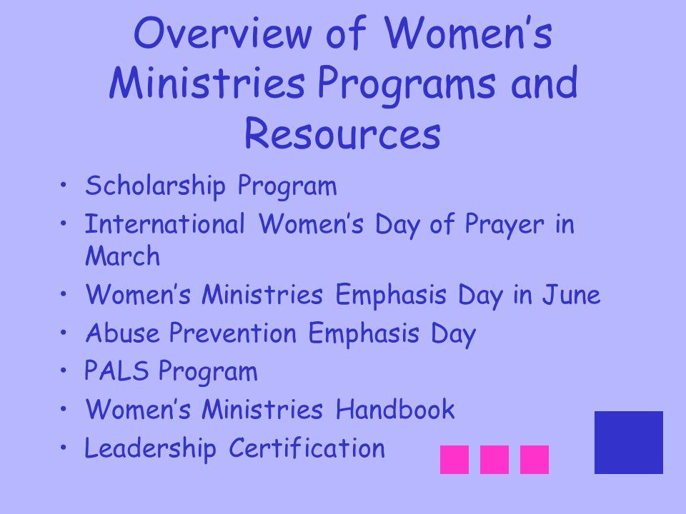 Overview of Women's Ministries Programs and Resources