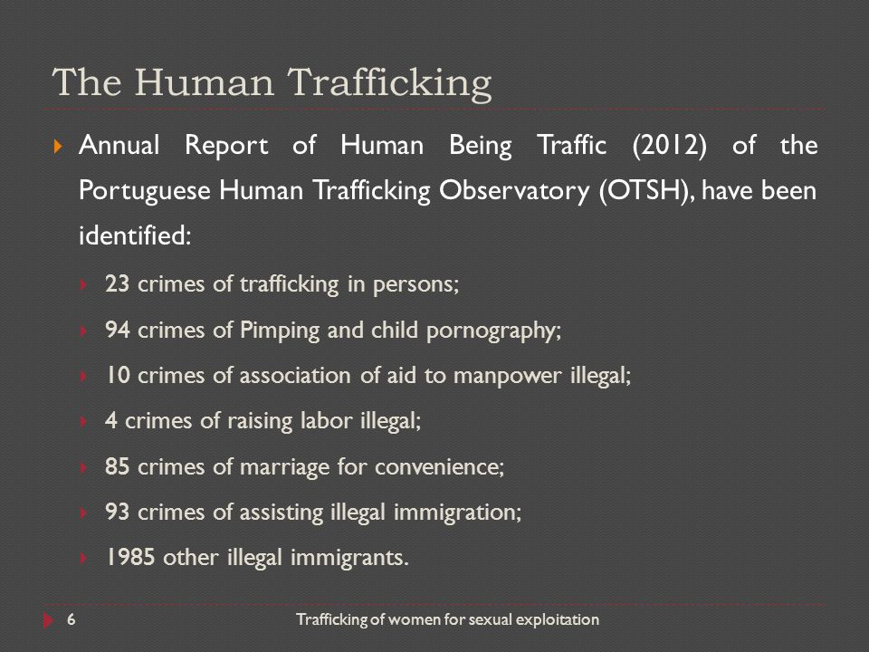The Human Trafficking Annual Report of Human Being Traffic (2012) of the Portuguese Human Trafficking Observatory (OTSH), have been identified: