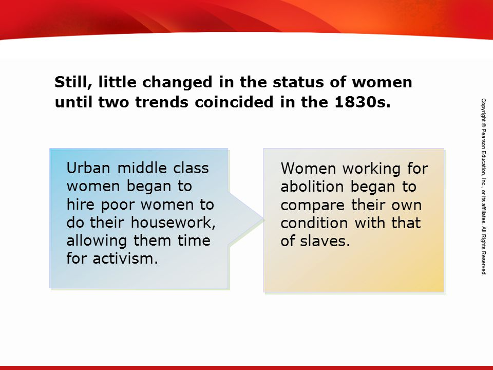 Still, little changed in the status of women until two trends coincided in the 1830s.