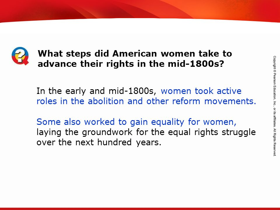 What steps did American women take to advance their rights in the mid-1800s